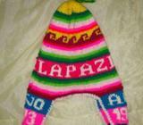 Gorro Chulo Bolivia orejas tejido lana muchos colores